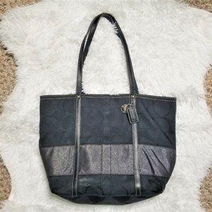 COACH Black Jacquard Canvas Shoulder Bag